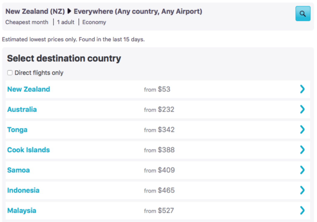 Calendar view of flight prices from New Zealand to Everywhere